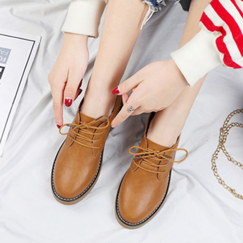Женские туфли-оксфорды на плоской подошве, весенние туфли из натуральной кожи на плоской подошве, винтажные лоферы на шнурках, повседневные...