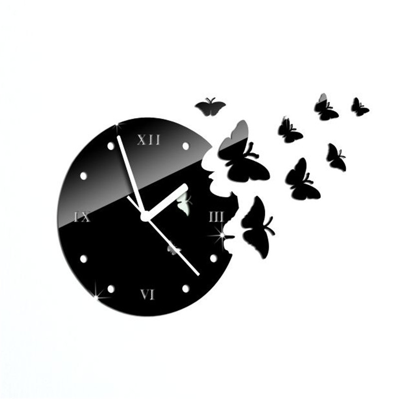 3D Butterfly Mirror Wall Stickers Wall Clock DIY Bedroom ...
