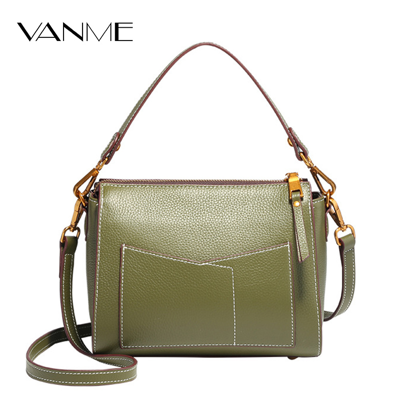 High Quality Genuine Leather Women Crossbody Bags Fashion Color Design Women Shoulder Bag Simple Messenger Girl Strap Ladies Bag