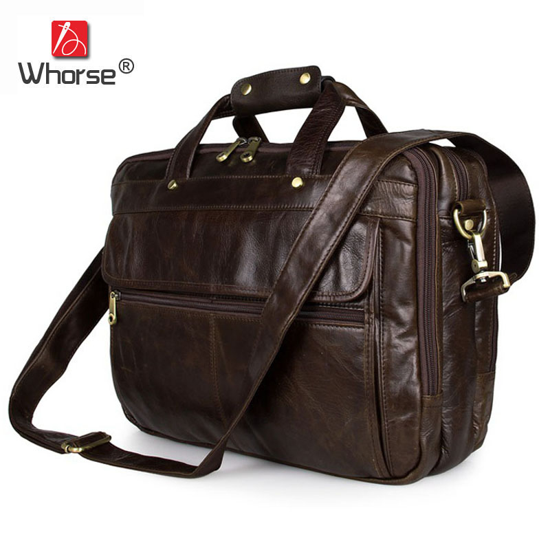 High Quality Genuine Leather Mens Business Briefcase 15