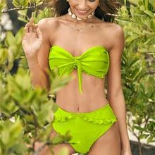 Neon Green Swimsuit 2019 Bandeau Tie Front Knot Ruffle Brazilian Bikini Strapless Swimwear Women Bathing Suit Maillot De Bain tie knot bandeau beach romper