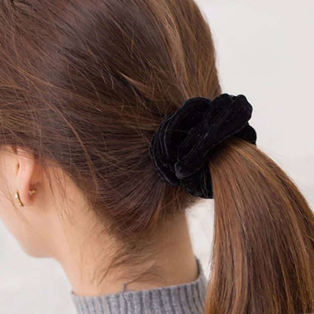1PC Women Elegant Velvet Solid Elastic Hair Bands Ponytail Holder Scrunchies Tie Hair Rubber Band Headband Lady Hair Accessories 1