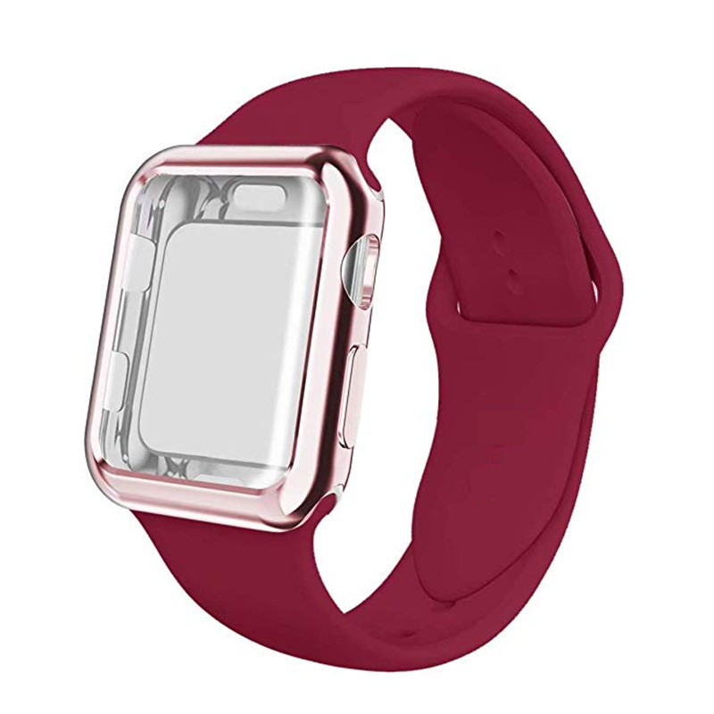 ASHEI oft Silicone Sport Strap+Plated Case For Apple Watch Band 38mm 42mm 40mm 44mm with Screen Protector For iWatch Series 4 3 ASHEI oft Silicone Sport Strap+Plated Case For Apple Watch Band 38mm 42mm 40mm 44mm with Screen Protector For iWatch Series 4 3
