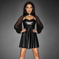 Heiße Neue Sexy Mesh 2 STÜCKE Hauchhülse Club Transparent Mini kleid Wetlook Kleid Vinyl Leder Clubwear Vedtido De Festa Sexy 860710