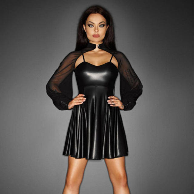 Hot New Sexy Mesh 2PCS Puff Sleeve Club Transparent Mini Dress ...