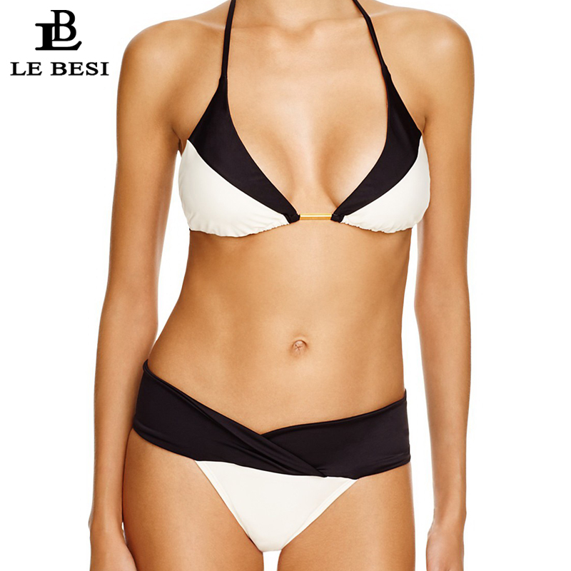 LEBESI 2018 New Women Bikinis Set Bandage Two Piece Swimsuit Patchwork Bathingsuit Multi Rope Biquini Brazilian Bikini