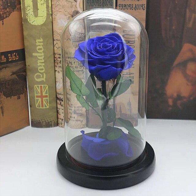 3 Colors Forever Rose Flower Preserved Immortal Fresh Rose In Glass