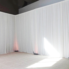 Wedding backdrop curtain event party customized stage background transparent silk drape decoration for stage party curtain