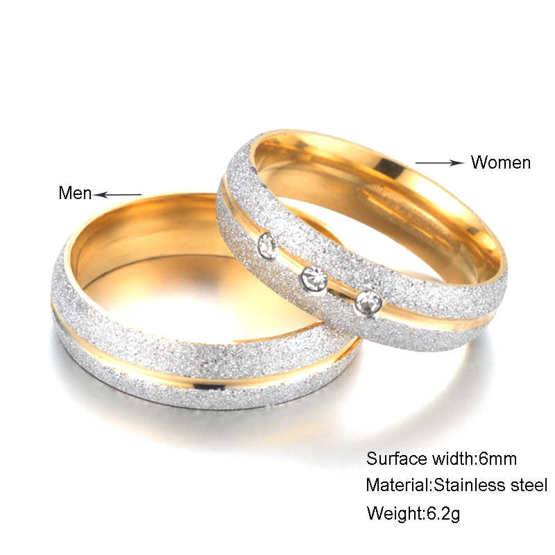 9977afce44 ... Couple Rings Stainless Steel Pearl Sand Crystal Rings For Lovers Simple  Elegant Wedding Anniversary Women Jewelry ...