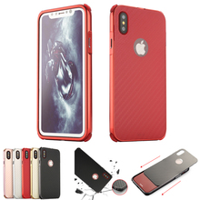 Case for iphone X Luxury Aluminum Metal Frame Bumper For 10 Carbon Fiber Back Cover iphoneX 5.8
