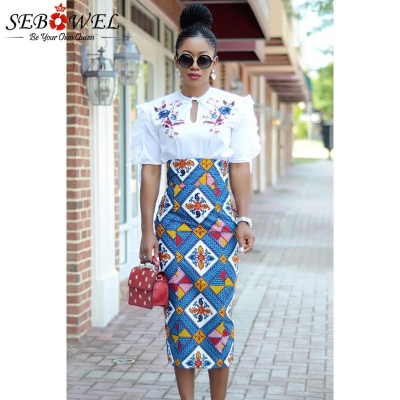 a4d652107b3f2 SEBOWEL Plus Size S-XXL African Print High Waist Bodycon Long Skirt Women  Sexy Casual Geometric Print Pencil Midi Skirts Female