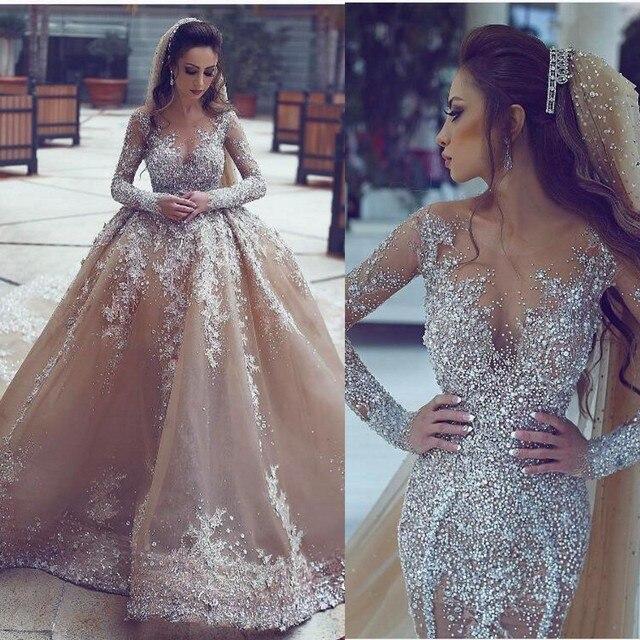 Dubai Champagner Strass Hochzeit Kleider 2017 Illusion Voll Sleeve ...