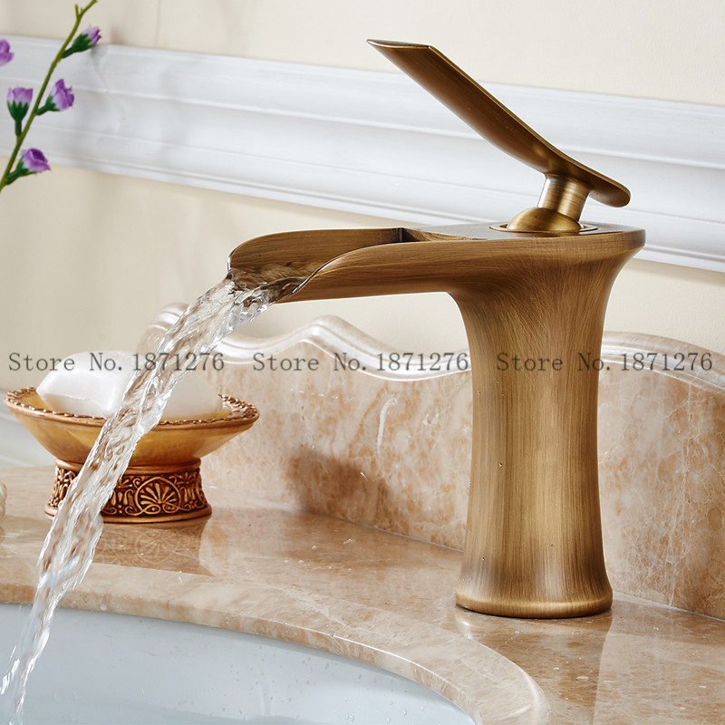 Cheap Gold Bathroom Faucet Hot Cold Bathroom Basin Faucet Waterfall Single  Hole Tap Mixer Taps High End Bathroom Products In Basin Faucets From Home  ...