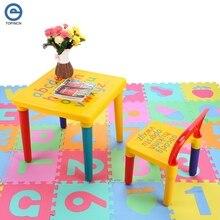 Juego de mesa y silla de plástico para niños, conjunto de muebles para cena, silla para niños y mesa de estudio, dibujos animados, envío rápido