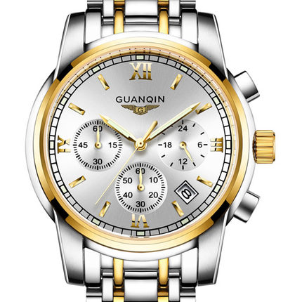ФОТО GUANQIN relogio masculino Fashion Business Men Luxury Brand Quartz Watch Mens Sport Watches Chronograph Luminous Wristwatch