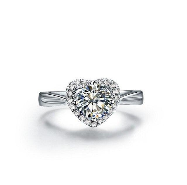 True Love 1 карат в форме сердца кольцо с бриллиантом 925 пробы серебряные  свадебные предложение кольцо cc5ce591e74
