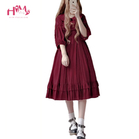 Japanese Style Girls Sweet Kawaii Lolita Dress Bow Embroidery Doll Collar Cute Dress Vintage Ruffles Pleated Princess Dresses