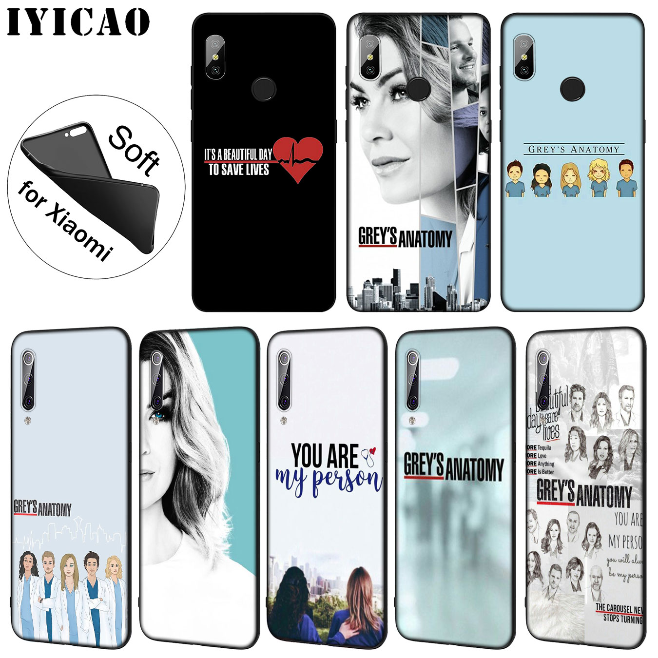 Qualified Iyicao American Tv Greys Anatomy Nurse Doctor Pattern Soft Case For Xiaomi Mi 9 8 A2 Lite A1 6x Pocophone F1 Max 3 Mi9 Mi8 Mia2 Traveling Phone Bags & Cases