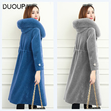 DUOUPA womens fur coat 100% wool sheepskin shearling real fox hooded leather full size 4XL