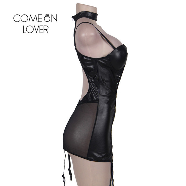 RI80385 Women Gartered Lingerie Lace Transparent Black Collared Chemise Big Size Sexy Night Sleeping Dress Faux Leather Lingerie 4