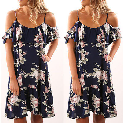Plus Size Women Vintage Boho Off Shoulder Short Sleeve Floral Print Long Maxi Evening Party Dress Summer Beach Sundress
