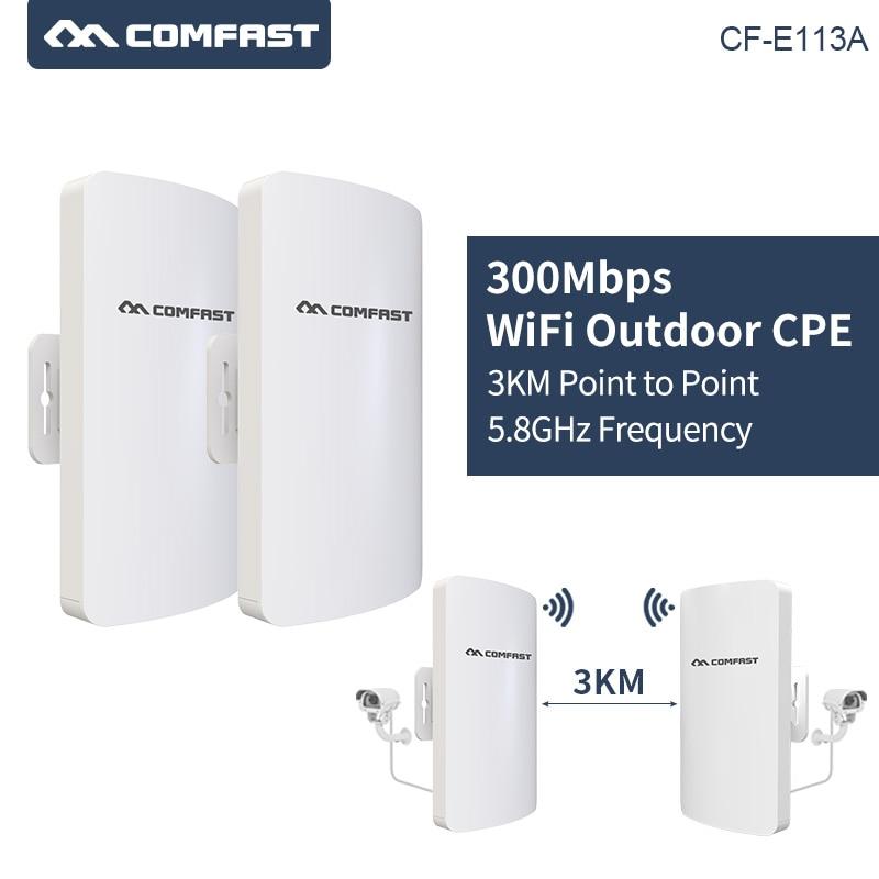 2 pièces/ensemble 3Km longue portée sans fil extérieur CPE WIFI routeur 5.8 Ghz 300 Mbps WIFI répéteur Extender extérieur wifi pont Client routeur
