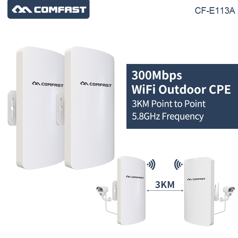 2pcs/set 3Km Long Range Wireless Outdoor CPE WIFI Router 5.8Ghz 300Mbps WIFI Repeater Extender Outdoor wifi Bridge Client Router-in Wireless Routers from Computer & Office