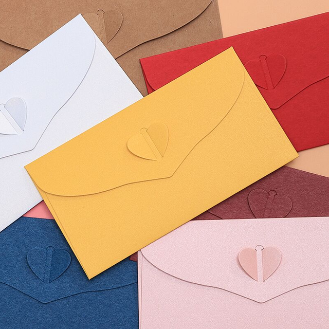 10pcs Lot Western Romantic Love Clasp Envelopes Wedding Invitation Candy Color Decorative Bags 173