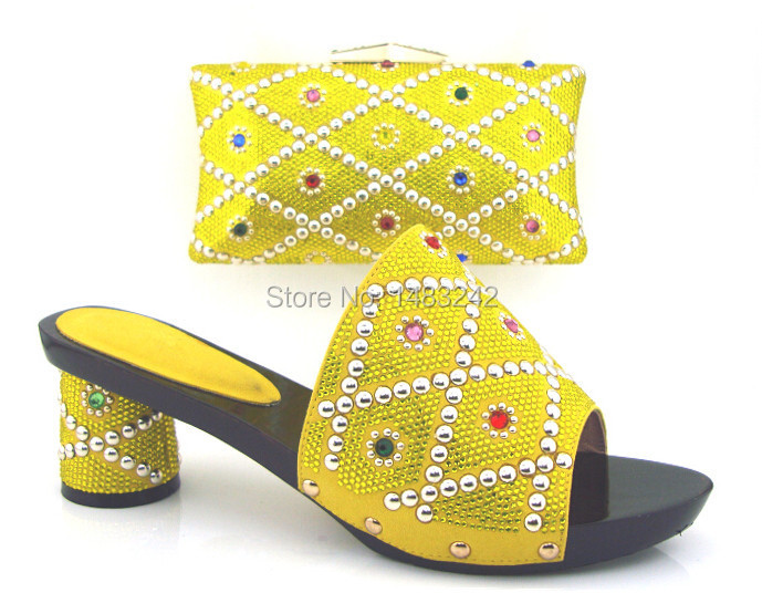Item No.ZD-0081 YELLOW High quality Italy shoes and bag set Open toe African wedding party slipper with clutch