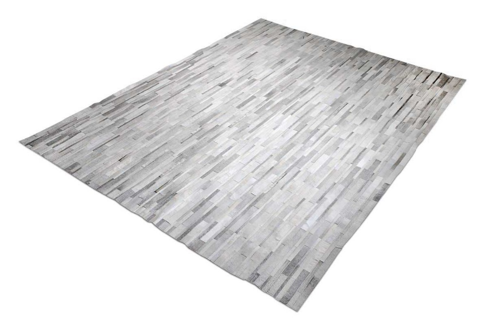 Beautiful White And Gray Patchwork Cowhide Rug Stripes No. 389(China (Mainland))