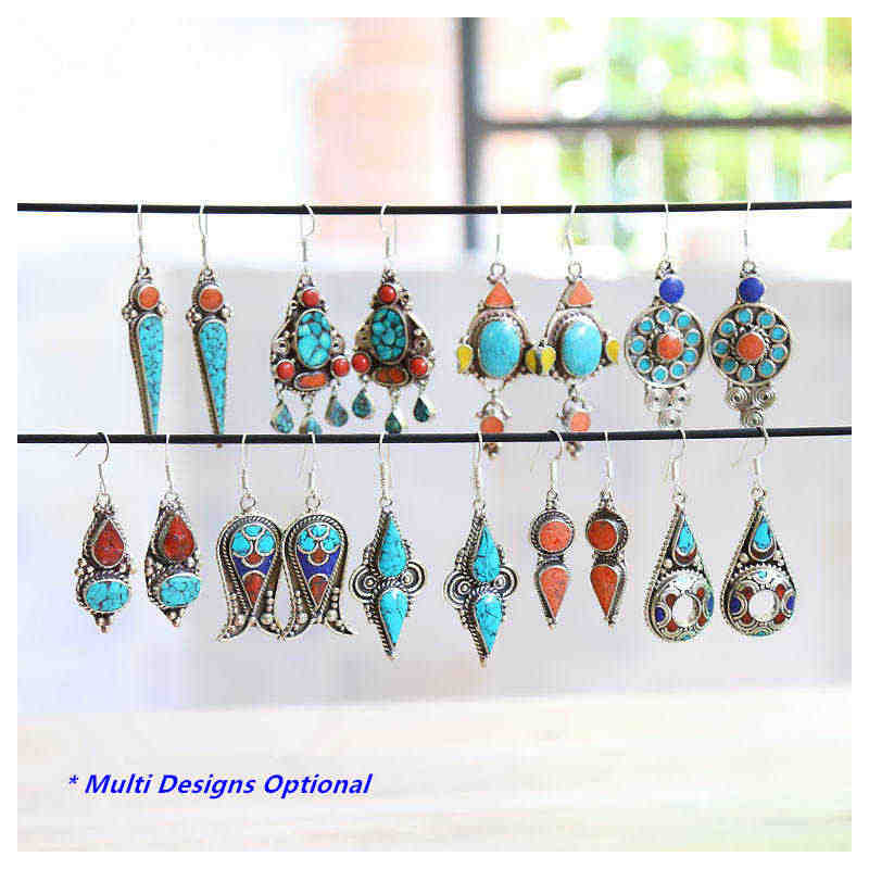 E007 Indian Vintage Hand Earring Pair Lovely for Girls Many Designs Copper Inlay Colorful Stone