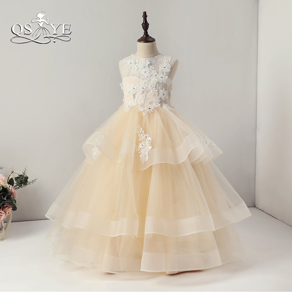 QSYYE 2018 Champagne   Flower     Girl     Dresses   3D   Flower   Lace Tulle Puffy Ball Gown   Girls   Prom Pageant Gown for Wedding
