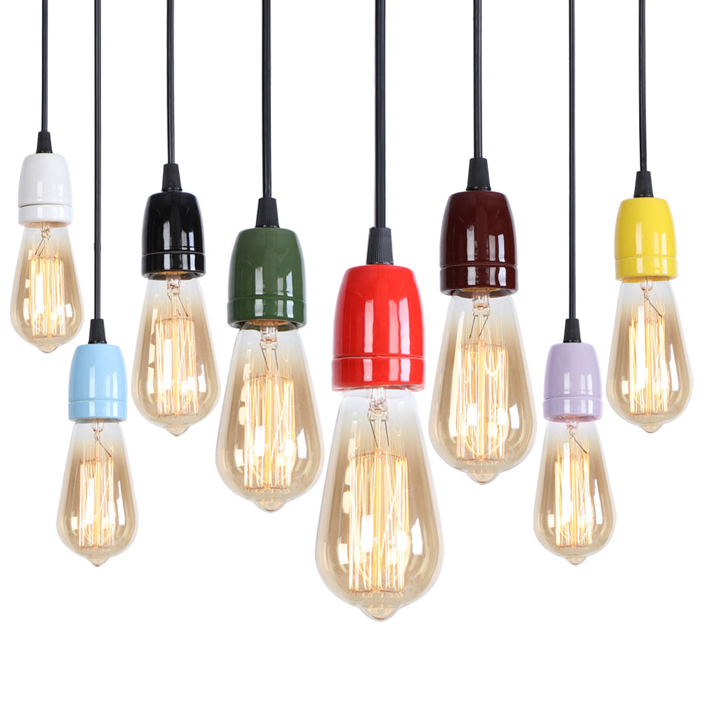 E27 Pendant Lamp American Iron Design Pendant Light Colorful Lamp For Bedroom Study Lamp Restaurant E27 Pendant Lamp Led Pendant Light Rpl0007 In Pendant Lights From