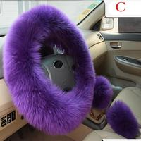 Steering Wheel Gear Brake Handbrake Cover 1Set Plush Woolen Warm Long Wool Auto Car Vehicle Accessory