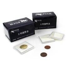 CÁPSULA MOEDA PCCB PEQUENO-TAMANHOS QUADRADO, suporte da moeda de plástico, caso Esponja almofada anel, 16-41mm, 1 pçs/lote