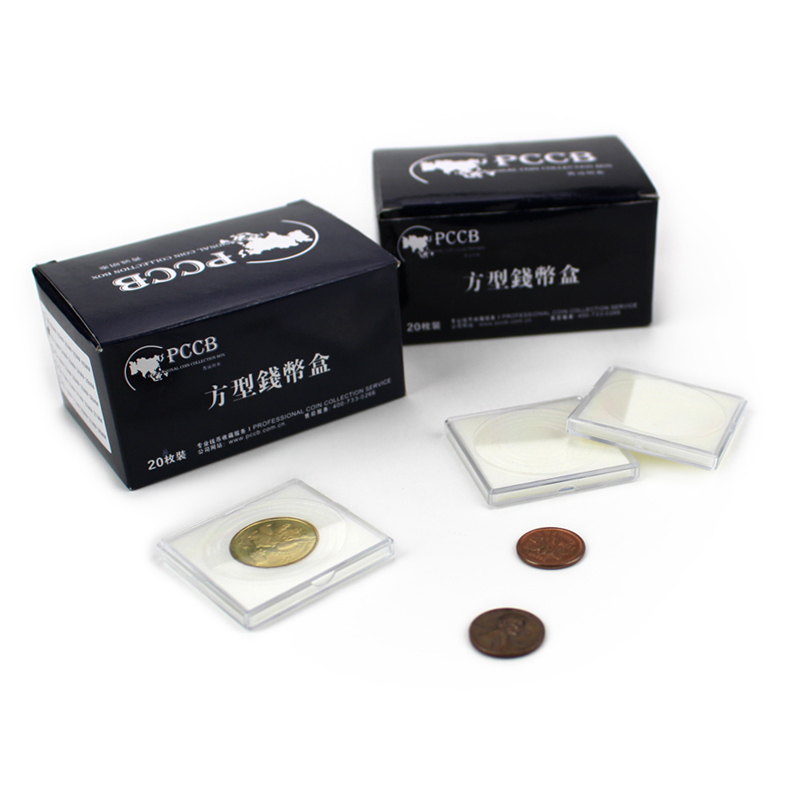 PCCB SMALL-SIZES SQUARE COIN CAPSULE, Plastic Coin Holder, Case Sponge Pad Ring, 16-41mm, 1pcs/lot