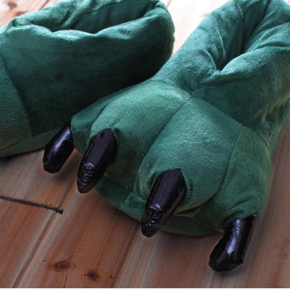 נעלי הבית לילדים דינוזאור חם רקום פלאפי טופר רצפת נעלי בית רך קטן טופר אלמוגים רך בית כפכפים