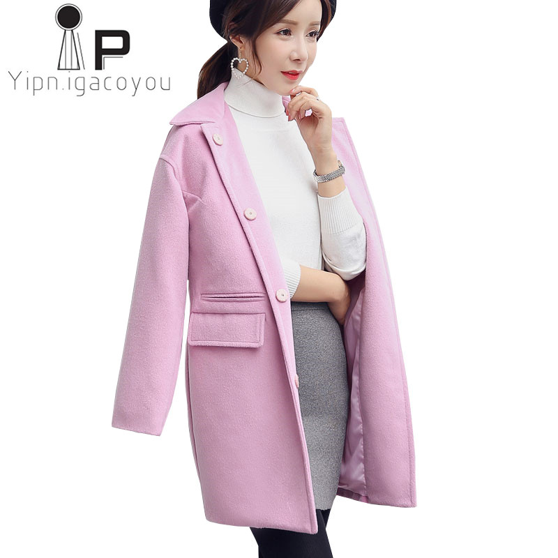 cce6da52efd91 Autumn Pink Wool Coat Women Long Wool Jacket Plus size Slim Winter Overcoat  Women Long Sleeve