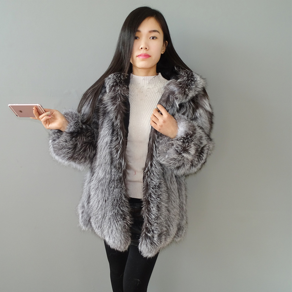 real fur Silver fox fur coat women dress cap Long sleeves big hat thick and warm 2019 new models10 in Real Fur from Women 39 s Clothing