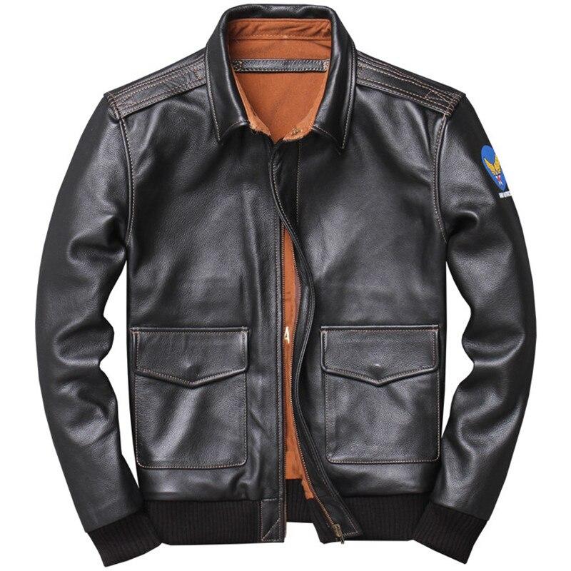 2020 noir hommes américain A2 pilote cuir veste grande taille 4XL véritable peau de vache printemps militaire aviateur cuir manteau livraison gratuite