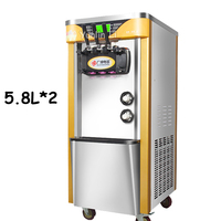 1pc Commercial 2100W Soft Ice Cream Machine Automatic Vertical All Stainless Steel 3 Color Soft Ice