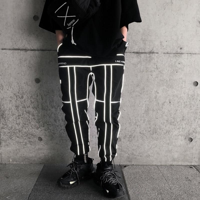 Hip Hop Reflective Pants Men Joggers Sweatpants Mens Streetwear Night Light Shiny Blink Long Pants For Couples