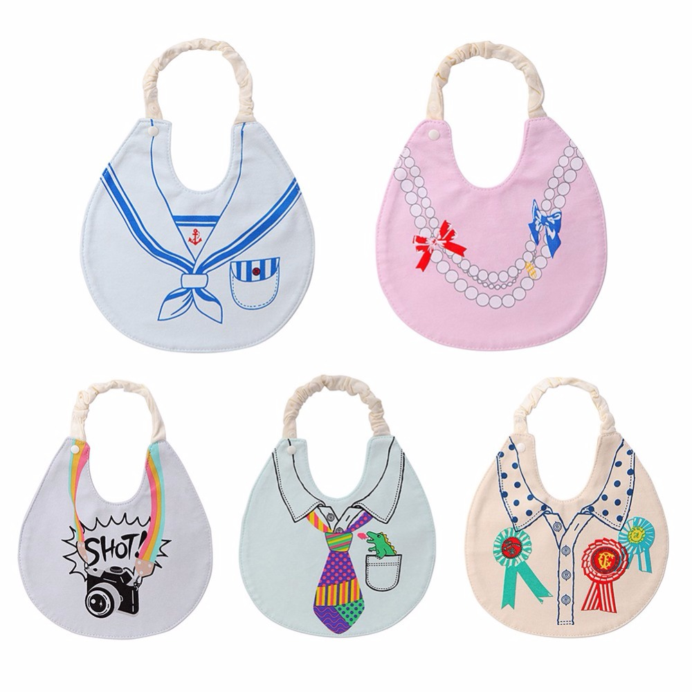 Cartoon Pattern Printed Cotton Baby Bib Infant Saliva Towels Baby Waterproof Bibs Newborn Wear Cartoon Accessories