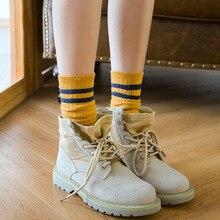 Winter new womens Harajuku retro stripes long high quality fashion candy color cotton casual socks