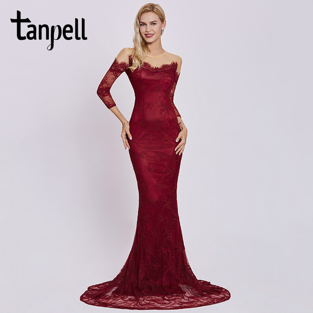 Tanpell scoop long evening dress burgundy full sleeves floor length ...