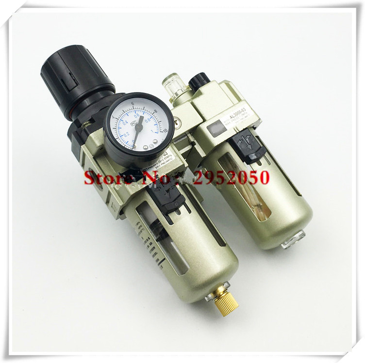 Free shipping FRL Combination air filter pressure regulator and lubricator AC3010-02 1/4 inch AC3010-03 3/8 Manual drain SMCtype pneumatic frl air filter regulator ac2000 1 4 inch air service unit air tac type pressure reducing valve atomized lubricator