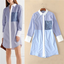 imported-china vestido manga longa european style turndown collar stripe shirt sleeve logn sleeve blue contrast color dresses