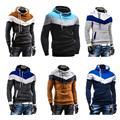 2015 Fashion Men Hoodiesand Sweatshirt Sports Hoody Contrast Color Slim Thickened Fleece Hoodies Sweatshirt for Men B2C