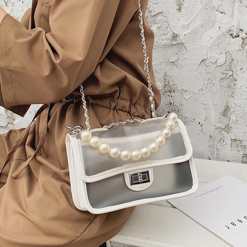 Sweet Girl Transparent Jelly bag 2019 Fashion New Quality PU Leather Women's Designer Handbag Lock Chain Shoulder Messenger bags 3