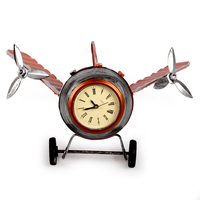 Vintage Creative Novelty Item Metal Iron Handmade Classic Airplane Model Clock Plane Home Decoration For Shooting